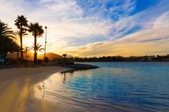 Alcudia Majorca at sunset on the beach Mallorca - stock photo