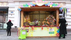 Maslenitsa decoration at fair in Moscow Stock Footage
