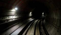 Time lapse train travel through an underground tunnel Stock Footage