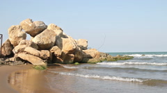 Caspian sea, rock and waves Stock Footage