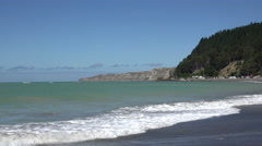 Cape Kidnappers, North Island, New Zealand, zoom in Stock Footage