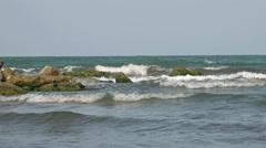 waves crashing on rocks - stock footage