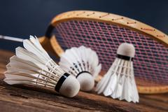 A set of badminton. Paddle and the shuttlecock. - stock photo