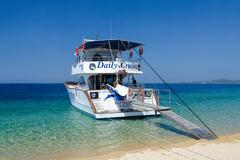 Pleasure boat at the Sithonia Peninsula, Greece Stock Photos