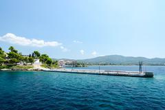 Greece, Sithonia, old pier in Neos Marmaras Stock Photos
