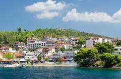 Greece, Sithonia, embankment in Neos Marmaras - stock photo