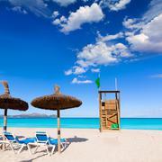 Mallorca Can Picafort beach in alcudia bay Majorca - stock photo