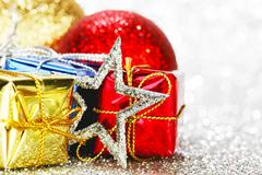 Decorated holiday gifts - stock photo