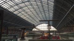 Eurostar high speed train waiting at London St. Pancras station Stock Footage