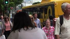 Crowd of people walk along Lambton Quay street, Wellington, New Zealand Stock Footage
