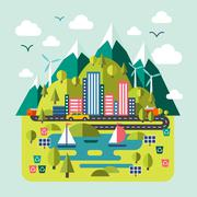Mountain landscape nature, river, environmentally friendly cities. Flat style Stock Illustration