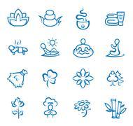 Yoga, pilates big set of vector symbols - stock illustration