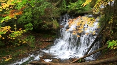 Autumn at Munising's Wagner Falls Stock Footage