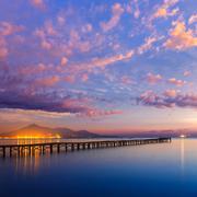 Majorca Muro beach sunrise Alcudia Bay Mallorca Stock Photos