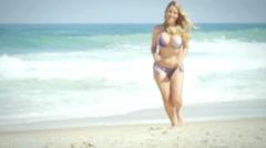 Beautiful brazilian woman smiles on a beach in Brazil Stock Footage