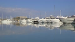 Luxury Motor Yachts in Marina, Antibes, France Stock Footage