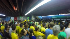 People protest on in Subway against corruption and brazilian government Stock Footage