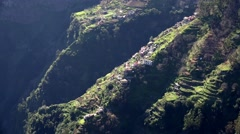 4k Small village at mountain walls in Madeira Stock Footage