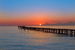 Majorca Muro beach sunrise Alcudia Bay Mallorca - stock photo