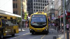 Go electric trolley bus, Wellington, New Zealand, street scene Stock Footage