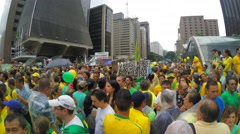 Stock Video Footage of People protest against Brazilian corruption and political reform