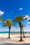 Mallorca Platja de Alcudia beach in Majorca Stock Photos