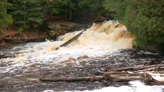 Lower Tahquamenon Falls in Autumn Stock Footage