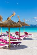 Mallorca Platja de Alcudia beach in Majorca - stock photo