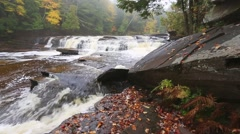 Upper Peninsula - Manido Falls in Autumn Stock Footage
