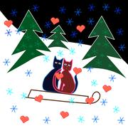 Love cats sledge ride through the snowy hillside. Stock Illustration