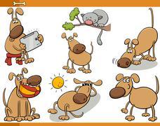 dogs characters cartoon set - stock illustration