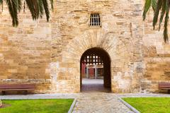Alcudia Old Town Majorca Porta des Moll Mallorca - stock photo
