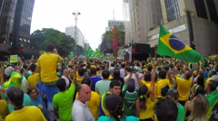 People protest against Brazilian corruption and political reform - stock footage