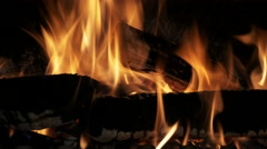 Burning indoor fireplace, filmed in 4k Stock Footage