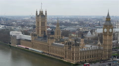 The back view of the Palace of Westminster in London Stock Footage
