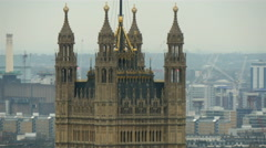 The tall brown building in the middle of London Stock Footage