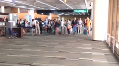 Wide shot of Travellers at Don Mueang International Airport. Stock Footage