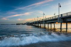 The Belmont Pier at sunset, in Long Beach, California. Stock Photos