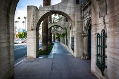 The exterior of the Mission Inn, in Riverside, California. Stock Photos