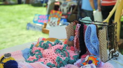 Handmade signs and knitted items at Route 66 festival August 2014 arts & crafts Stock Footage