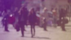 Blur Crowd of People Walking On the Street in Bokeh Stock Footage
