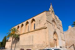 Stock Photo of Alcudia Old Town Sant Jaume church in Majorca