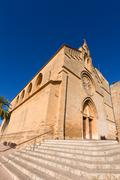 Alcudia Old Town Sant Jaume church in Majorca - stock photo