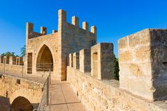 Alcudia Old Town fortress wall in Majorca Mallorca - stock photo