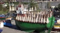 4k Fisherman boat with drying fish in fishing village Madeira Footage