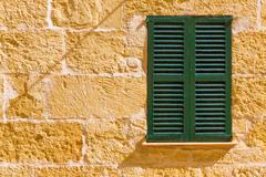 Alcudia Old Town wood shutters Mallorca Stock Photos