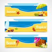 Stock Illustration of Banner set of summer beach