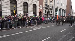 St Patricks Day Dublin Military Parade Stock Footage