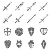 Shield swords emblems icons set Stock Illustration