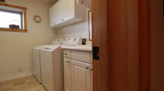 Laundry room interior house dolly Stock Footage